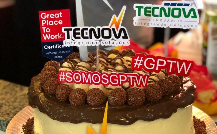 "O grupo Tecnova Energia recebe selo ""Great Place To Work"""